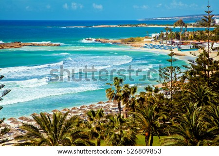 Cyprus beautiful coastline, Mediterranean sea of turquoise color