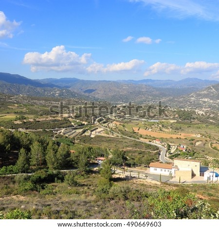 Cyprus - Limassol District. Mountain view of Cyprus countryside.