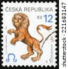 CZECH REPUBLIC - CIRCA 2001: post stamp printed in Czechoslovakia (Ceska) shows zverokruh lev; horoscope sign leo; astrological zodiac symbol; Scott 3072 A1149 12k brown, circa 2001 - stock photo