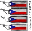 Czech Republic Flags Set of Grunge Metal Tags / Four grunge metallic tags with czechia flags, steel cable and metal rivets - stock photo