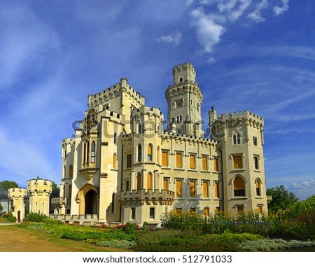 Czech Republic. Hluboka nad Vltavou. Beautiful renaissance castle Hluboka. Hluboka Castle is an attractive tourist destination in Southern Bohemia