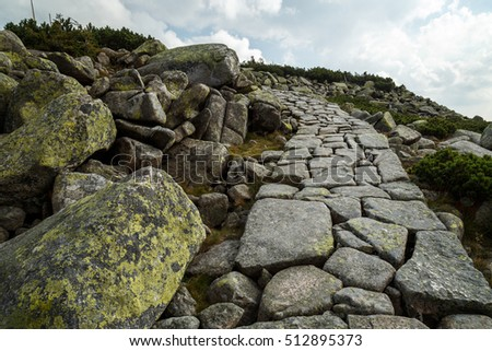 Czech Republic - September 10, 2016 -  The path along the ridge to Mt. Vysoke kolo ( 1509 m) in National Park Krkonose