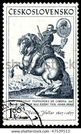 CZECHOSLOVAKIA - CIRCA 1969: a stamp printed by Czechoslovakia shows a picture of artist Vaclav Hollar. The horseman , circa 1969
