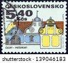"CZECHOSLOVAKIA - CIRCA 1971: A stamp printed in Czechoslovakia from the ""Regional Buildings"" issue shows a southern Bohemia baroque house, Posumavi, circa 1971. - stock photo"