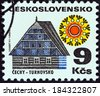 """CZECHOSLOVAKIA - CIRCA 1971: A stamp printed in Czechoslovakia from the """"Regional Buildings"""" issue shows cottage, Turnovsko, circa 1971.  - stock photo"""