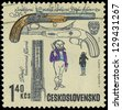 CZECHOSLOVAKIA - CIRCA 1969: A stamp printed in Czechoslovakia shows ancient gun, circa 1969 - stock photo