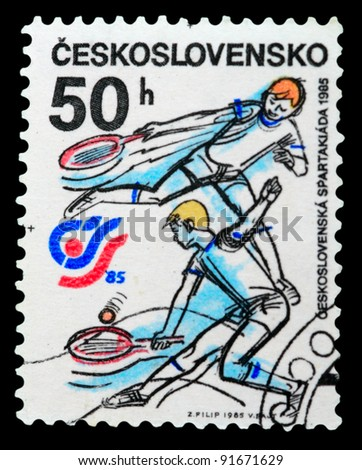 CZECHOSLOVAKIA - CIRCA 1985: A stamp printed in Czechoslovakia shows Czechoslovakia sports and athletics meeting of 1985 year, circa 1985