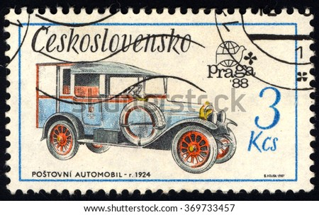 CZECHOSLOVAKIA - CIRCA 1987: A stamp printed in Czechoslovakia shows Old-Time Classical Car - Zip Car 1924, Historic Motor Cars series, circa 1987
