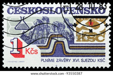 CZECHOSLOVAKIA - CIRCA 1983: A stamp printed in Czechoslovakia, shows Refinery, series successes in socialist construction Czechoslovakia, circa 1983