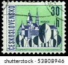 CZECHOSLOVAKIA - CIRCA 1965: A Stamp printed in Czechoslovakia shows wiew of Kosice, circa 1965 - stock photo