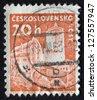CZECHOSLOVAKIA - CIRCA 1960: stamp printed in Czech Republic shows Kost Castle. Castles. Scott Catalog 972 A382 20h brown orange, circa 1960. - stock photo