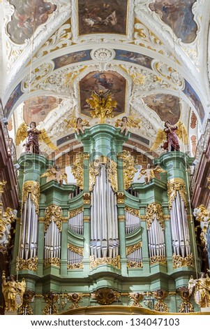 CZESTOCHOWA, POLAND - AUGUST 21: Old beauty organ in Basilica in Jasna Gora Sanctuary on august 21, 2012 in Czestochowa. Jasna Gora is most popular Sanctuary in Poland.