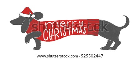 dachshund wiener dog in black chalkboard style design with Merry Christmas typography lettering in handwritten text, wearing a santa claus hat and red Christmas sweater