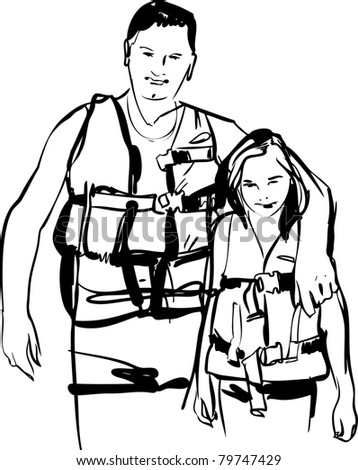 Dad and daughter in life jackets