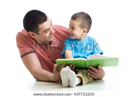 Dad and son kid reading together