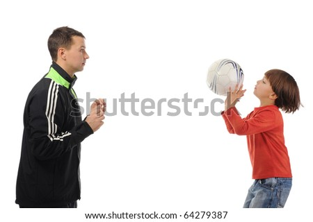 Dad and son playing ball. Isolated on white background