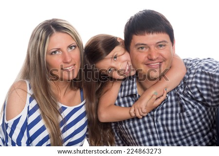Dad, Mom and their beloved daughter isolated on white background