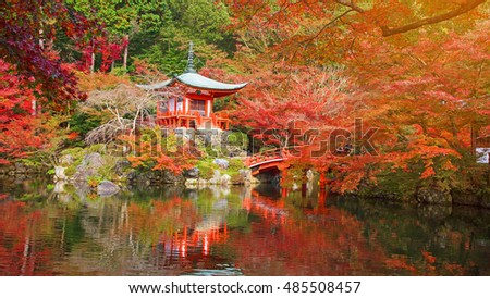 Daigo-ji temple with fall colors and sunshine in Autumn, Kyoto, Japan