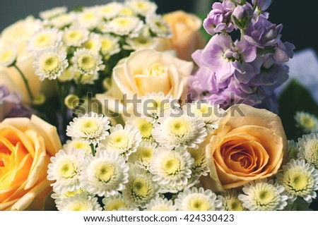 Daisy, chrysanthemum, rose and mix of summer flowers bouquet for happy or sorrow events