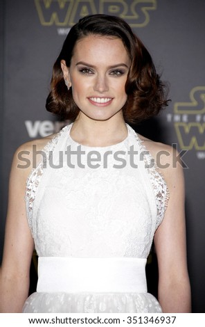 Daisy Ridley at the World premiere of 'Star Wars: The Force Awakens' held at the TCL Chinese Theatre in Hollywood, USA on December 14, 2015.