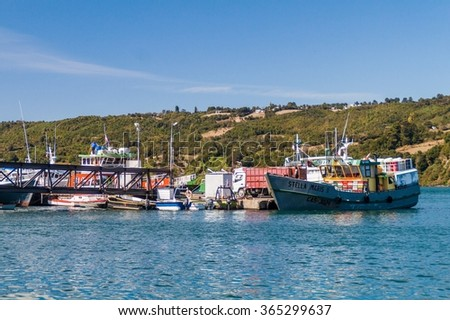 DALCAHUE, CHILE - MARCH 21, 2015: Ships in a harbor of Dalcahue, Quinchao island, Chile