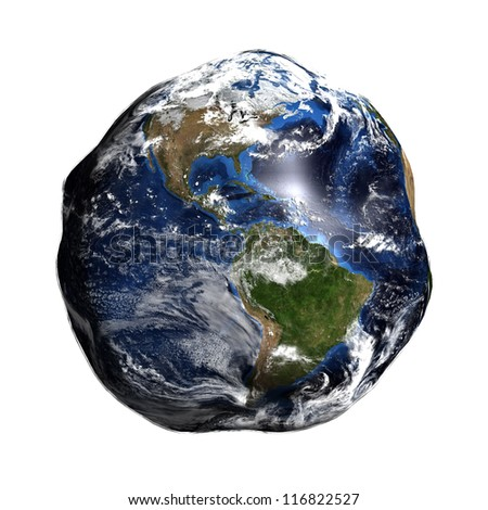 Damaged Earth isolated on white showing America. Extremely detailed. Elements of this image furnished by NASA.