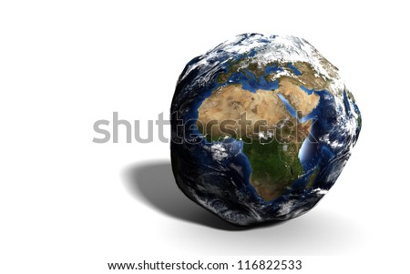 Damaged Earth isolated on white showing Europe and Africa. Extremely detailed. Elements of this image furnished by NASA.