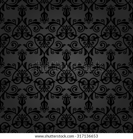 Damask seamless dark ornament. Fine  traditional oriental pattern.