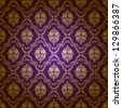 Damask seamless floral pattern. Gold flowers on purple background. - stock photo