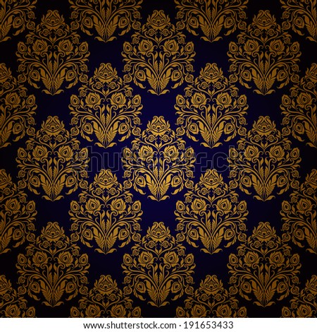 Damask seamless floral pattern. Royal wallpaper. Flowers on a blue background. Illustration.