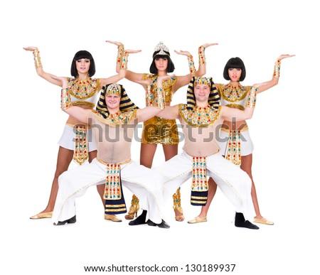 Dance Team Dressed Egyptian Costumes Posing Stock Photo 132976322 ...