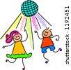 dancing kids - stock vector