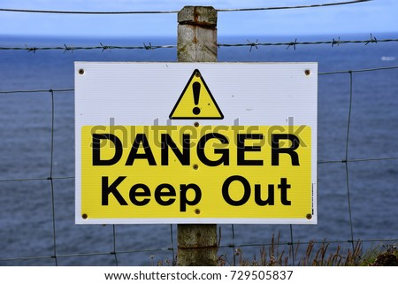 Caution Thin Ice Sign Next Frozen Stock Photo 10605991