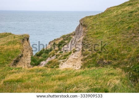 Dangerously collapsed cliff near Cap Griz Nez