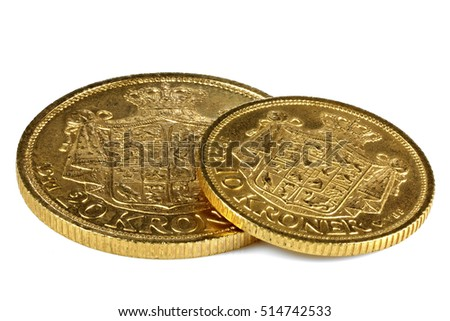 Danish gold coins isolated on white background