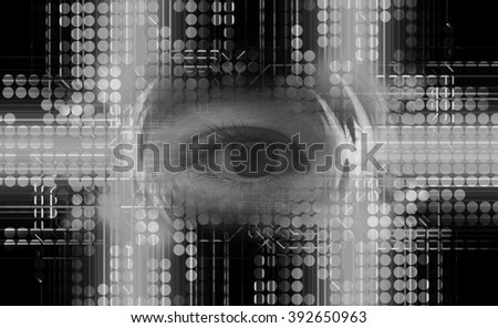 dark black circle wave illustration of technology internet network computer background with binary, style. infographics. Information. motion blur. pixel. Binary digit. number. web wabsite tech. eye