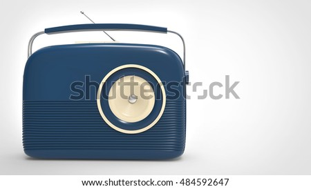 Dark blue vintage radio - 3D Illustration