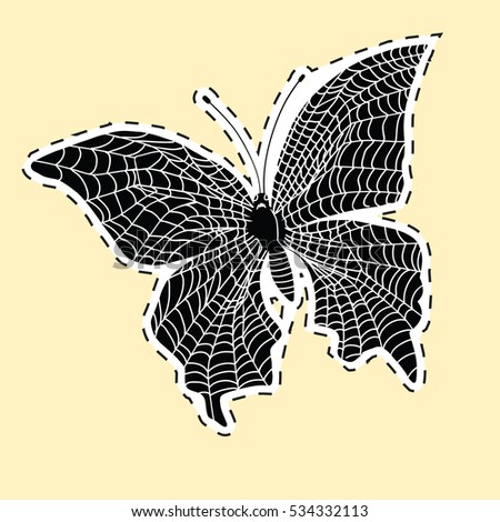 Dark butterfly web label sticker. pop art retro  illustration. The horror and nightmare. Symbol of the Internet
