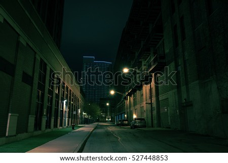 Dark City Street at Night
