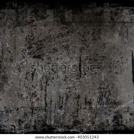 Dark gray concrete wall background with film strip texture