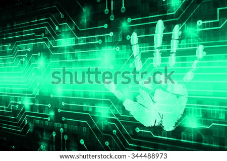 dark green Abstract digital conceptual technology security background with lock. computer technology website internet web. infographics. fingerprint. Finger-print scanning. Hand print.