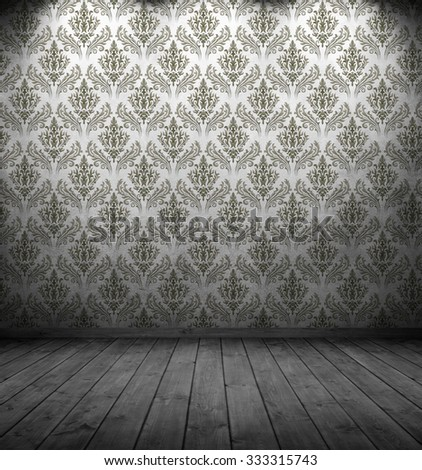 dark interior room with baroque-styled (1575-1770) wallpaper pattern.e