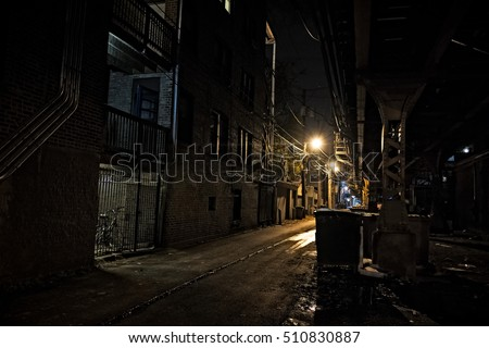 Dark Urban Alley at Night