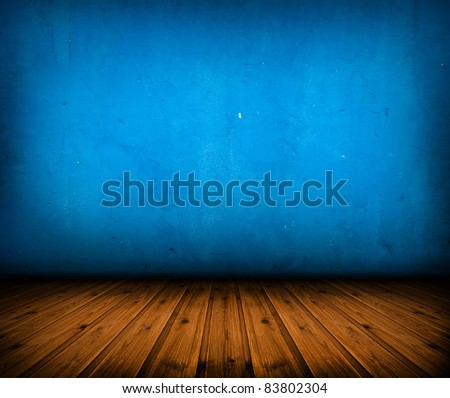 dark vintage blue room with wooden floor and artistic shadows added