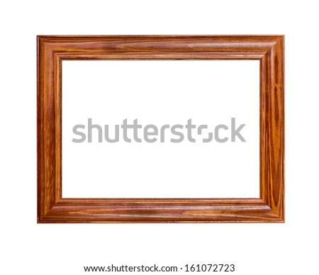 dark wooden frame isolated on white background