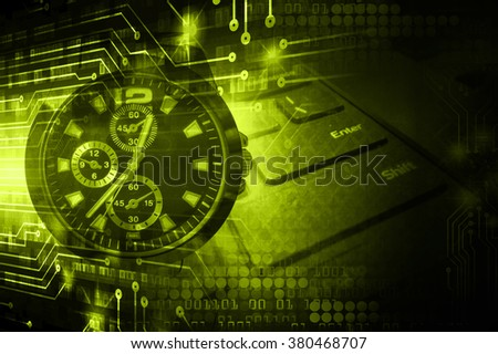 dark yellow green illustration of technology internet network computer background with binary number, style. infographics. Information. motion blur. pixel. Binary digit. number. Odometer,clock, watch