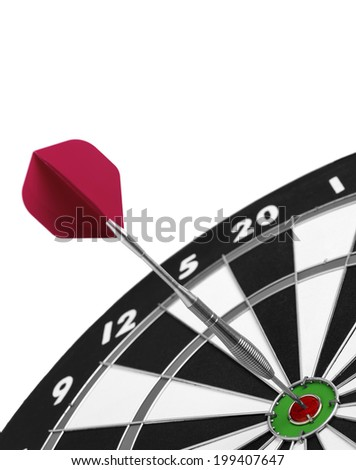 Dartboard Isolated with single dart