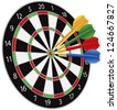 Dartboard with Darts Hitting on Target Bullseye Illustration Isolated on White Background Raster Vector - stock vector