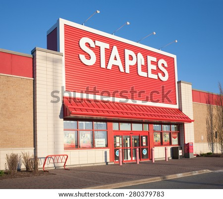 DARTMOUTH, CANADA   MAY 21, 2015: Staples Storefront. Staples Is An Office