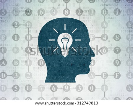 Data concept: Painted blue Head With Light Bulb icon on Digital Paper background with Scheme Of Hexadecimal Code